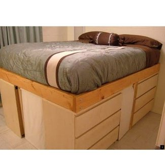 Twin bed with dresser underneath