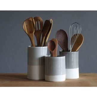 Utensil Holder Cylinder Shaped White