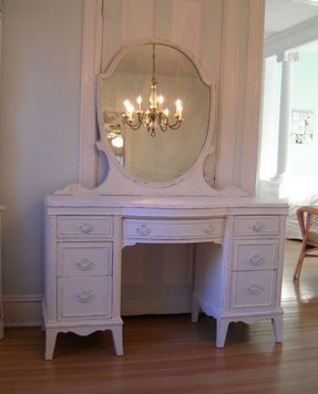 Vanity with mirror white vintage shabby