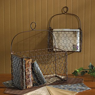 Wire basket wall mount