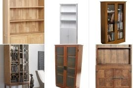Wooden bookcases with doors