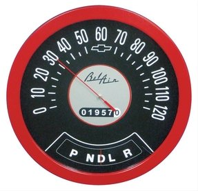 1957 bel air wooden speedometer thermometer
