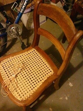 Antique cane bottom dining chairs