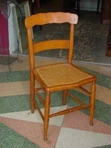 Antique Curly Maple Cane Seat Chair