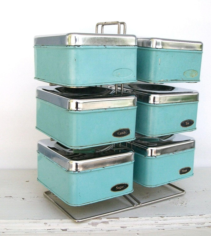 Aqua Kitchen Canisters