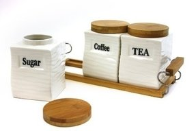 Attractive Set of Three (3) Square Canisters with Natural Bamboo Lid and Stand - Wave Design Coffee, Tea, Sugar, Ceramic Canisters Set