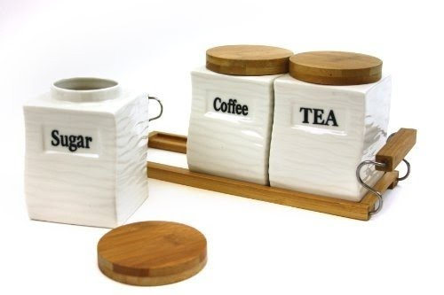 Attractive Set Of Three (3) Square Canisters With Natural Bamboo Lid And  Stand
