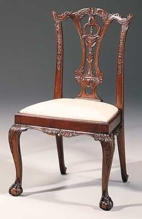Carved mahogany chippendale style side chair traditional dining chairs