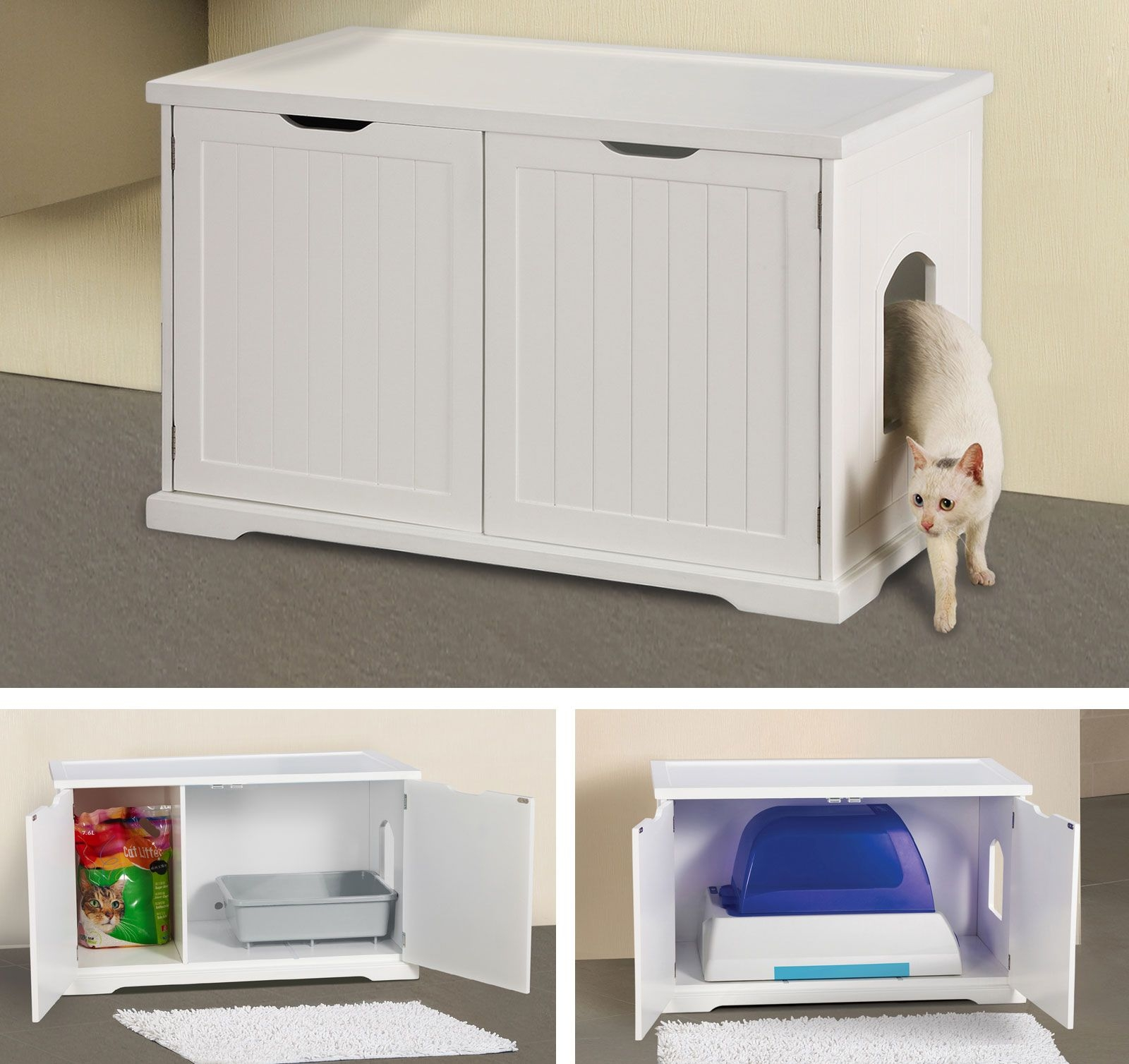 Cat Washroom Bench Litter Box Enclosure & Kitty Litter Cover - Foter