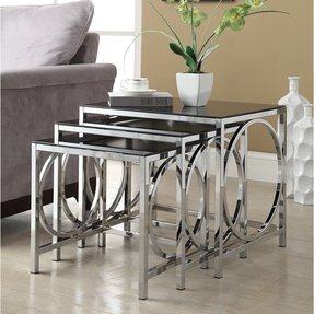 Chrome Black Gl Nesting 3 Piece Side End Table Set