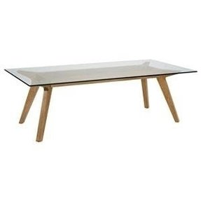 Oak Coffee Table With Gl Top Foter