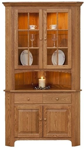 Fantastic Corner Oak China Cabinet - Foter CX81