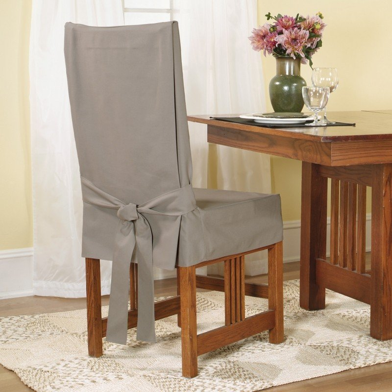 Attrayant Cotton Duck Shorty Dining Chair Slipcover