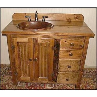 Country Bathroom Vanity Pine With Hammered