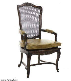 Details About Antique French Cane Back Arm Chair With Leather