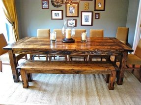 Farm table with bench and chairs
