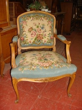 French antique louis xv hand carved needle point arm chair
