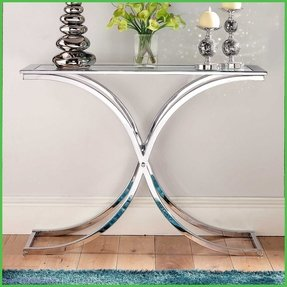 Glass and chrome console table 2