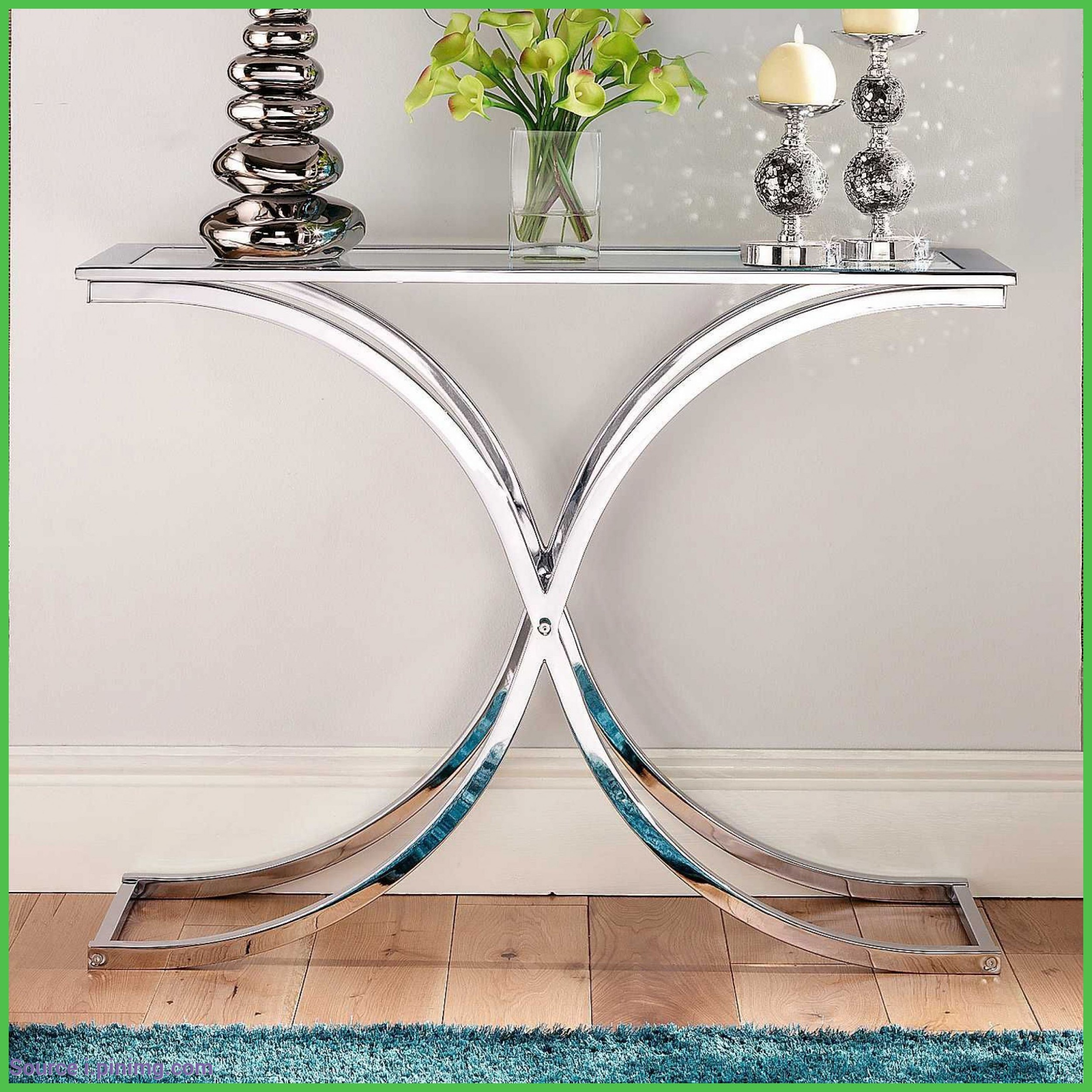 Superbe Glass And Chrome Console Table 2