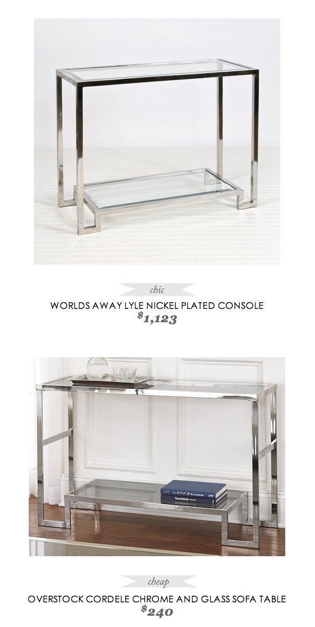 Glass And Chrome Console Table Foter