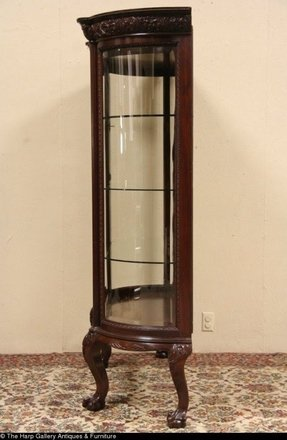 Awesome Curved Glass Antique Curio Cabinet