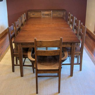 Hickory dining table with handmade