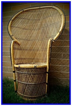 High back wicker rattan chair peacock fan back by theplumvintage