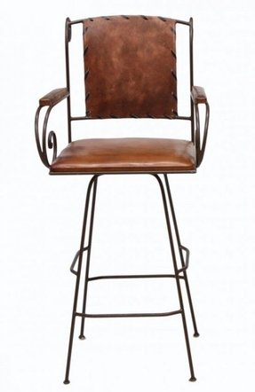 Iron and leather bar stools