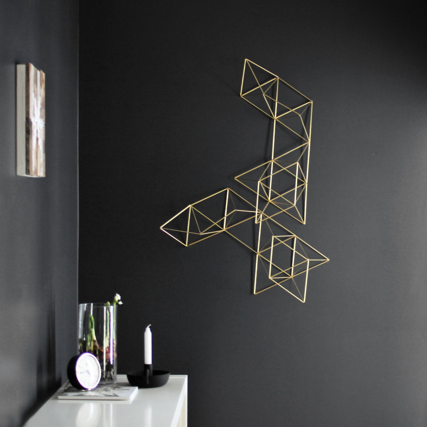 Large Brass Abstract Himmeli No 1 Wall