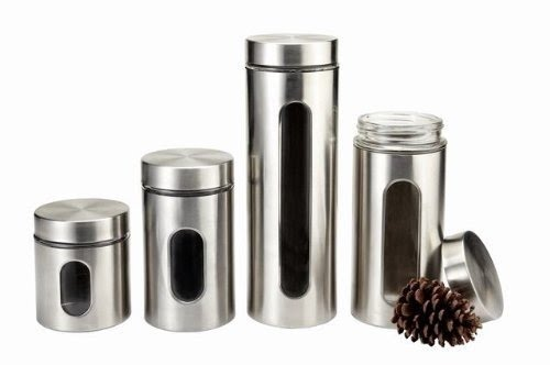 M2CBridge Kitchen Collection Metal Coated Window Canister Set With Airtight  Lids(Stainless Steel)