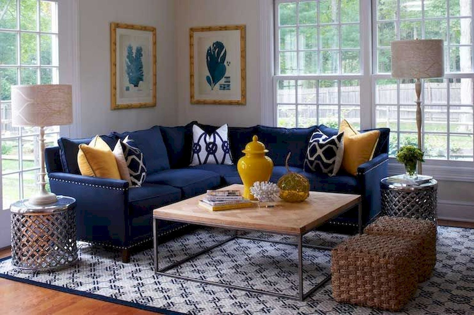 Delicieux Navy Blue Couch With White Piping