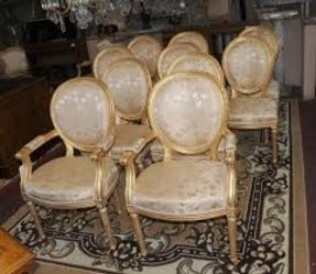 Photo of set 10 french neo classical gilt dining chairs