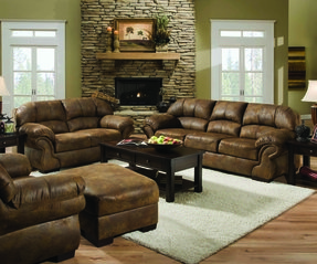 Pinto Tobacco Leather Look Fabric Sofa and Loveseat Set