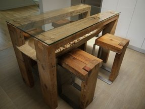Wood Dining Table With Glass Top - Foter