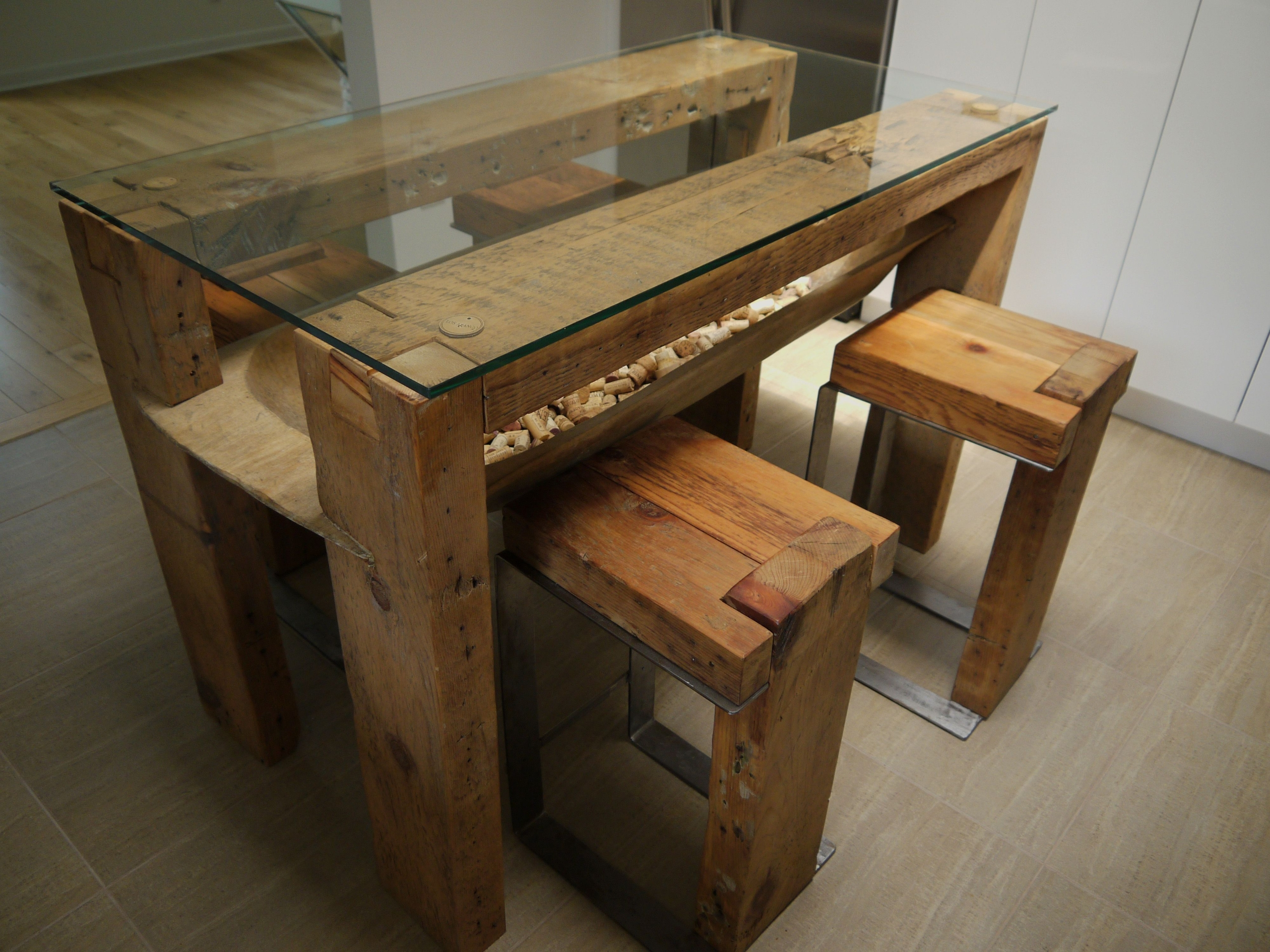 Ordinaire Reclaimed Wood Dining Table Glass Top