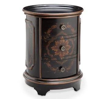 Round drum end table 16