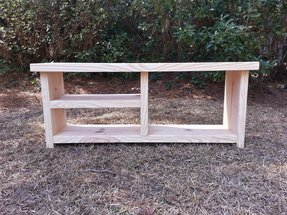 Rustic wood bench with shoe rack and