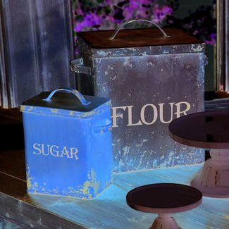 Set 2 vintage style metal flour sugar canister farmhouse country
