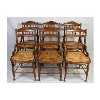 Merveilleux Six Matching Victorian Walnut Cane Bottom Chairs