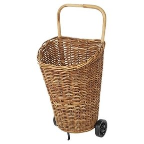 This eco friendly rattan market cart is perfect stowing throws