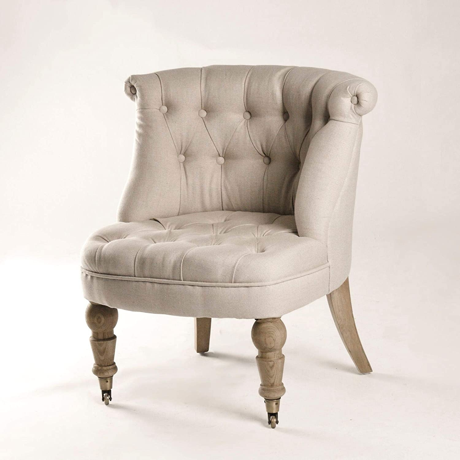 Tufted Slipper Chair In Linen Perfect Bathroom Vanity Chair In