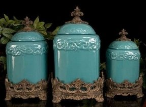 Tuscan drake design turquoise kitchen canisters s 3