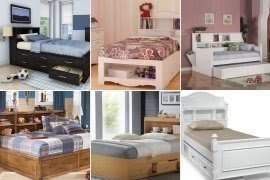 Twin Storage Bed With Bookcase Headboard - Foter