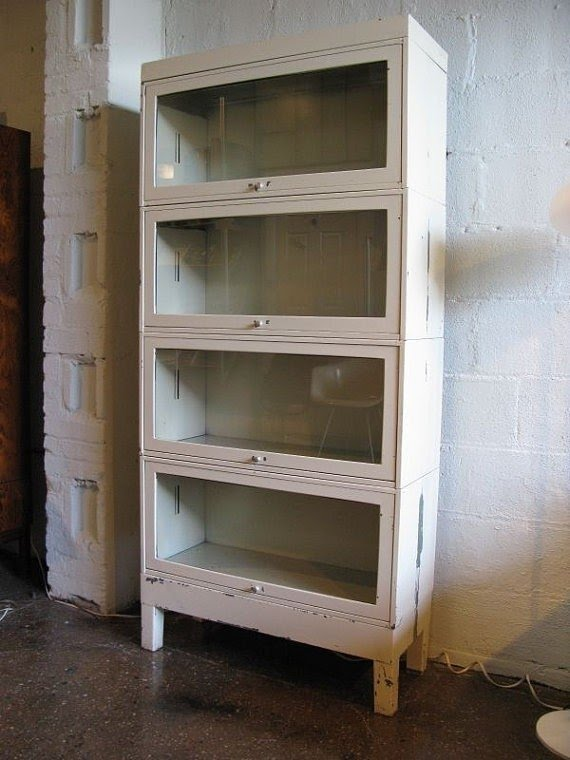 White industrial barrister bookcase