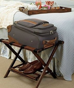 White luggage rack