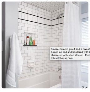 White Tile Shower With Accent