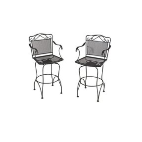 Wrought iron black swivel patio bar chairs 2 pack discontinued