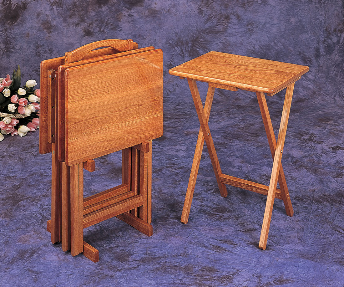 Beau 4 Pc Oak Finish Wood Tv Tray Table Set With Stand