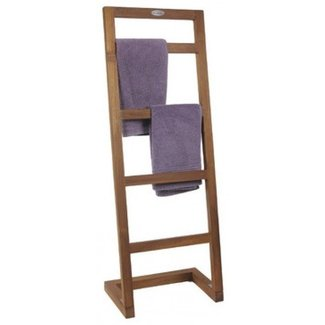 Angled teak towel stand from the spa collection contemporary towel