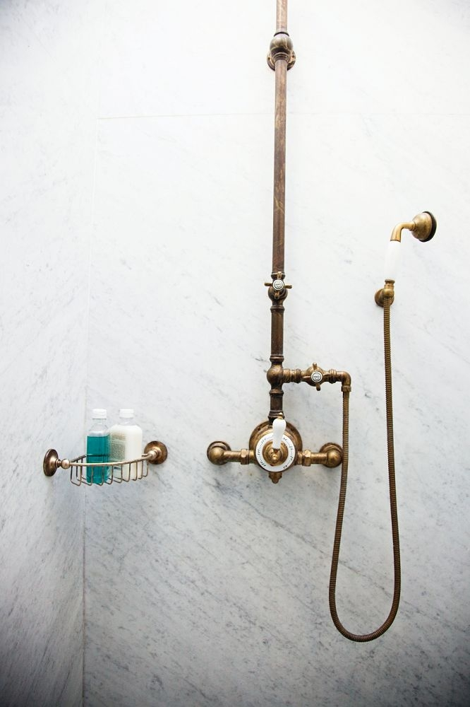 Antique Brass Shower Fixture Set 8 Rain Shower Head 2 Double Knobs Cross Handle